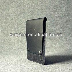 Black Genuine Leather And Felt sleeve case for Apple iPad Mini