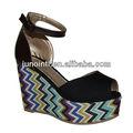 señora sandalias de cuña del alto talón zapatos de plataforma de verano