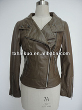 fashion woman geniune leather jacket with perfect collar
