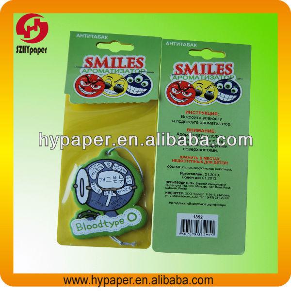 Custom paper air freshener car fragrance paper