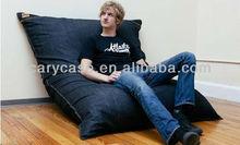 jaxx Pillowsaxx Large Denim Bean Bag Lounger , indoor lounge beanbag cushion, lazy bean bag sofa chair