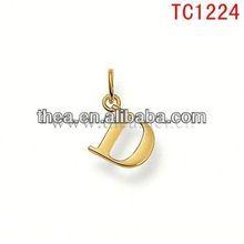 TC1224 elegant fashion gold mental alphabet D pendant&charm cheapest price