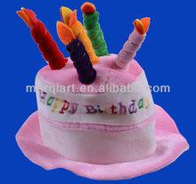 Plush White Blue Velvet Happy Birthday Party Cake Hat
