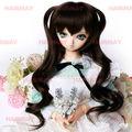 Japana animei estilo empregada venda quente boneca peruca de cabelo preto top tem duas tranças