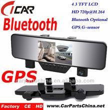 Hot selling Full Hd 1080P, Bluetooth Handfree Call, Gps 2 Lens Mini Hidden Car Dvr Camera
