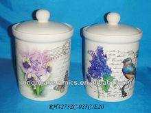 """New Huaide Ceramics Cream Round 6.5"""" Airtight canister"""
