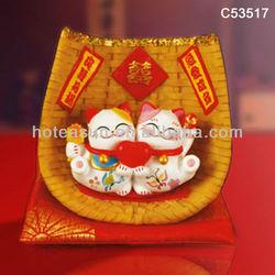 Wedding crafts ceramic lucky cat decoration gift C53517