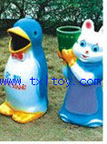Dolphin and rabbit park rubbish bin TX-225R