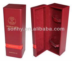 Gold hot stamped pu leather custom wine gift box