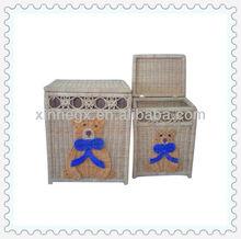 decorative rattan storage box with lid 2pcs/set