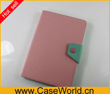 For iPad mini stand pu leather case with snap-fastener design