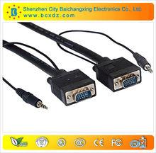 Premium 25ft HD15 M/M VGA / SVGA / UXGA with AUDIO Monitor Projector Cable Stereo 3.5mm Audio
