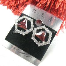 Shine Elegant Red CZ Women Jewelry Gemstone Silver Stud Earrings