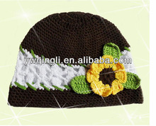 Hot sale! Coffee With Flowers Hand-made Crochet Baby Hats For Children