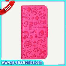 PU leather flip wallet case cute cartoon case for iphone 5