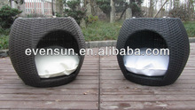 1pc cheap outdoor garden PE rattan wicker cat house with 2 doors