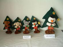 promotional customized stuffed plush chiristmas bear,dog,mouse,snowman toy with red handbag&christmas tree