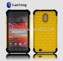 Super fashional luxury handmade cell phone case for samsung d710,defender rhinestone case for samsung d710,golden bling case