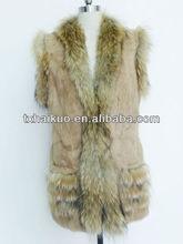 rabbit fur body and raccoon fur trimming sleeveless coats for women
