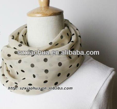XH-1183 100% Polyester chiffon yellow dot printed fashion infinity scarf