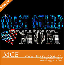 Coast guard mom hotfix bling rhinestone design, lead free rhinestone design