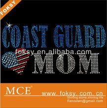Coast guard mom hotfix bling rhinestone design, lead free rhinestone design