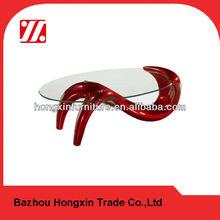 red fiber galss coffee table modern
