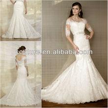 New Arrival Strapless Open Back Lace Applique Arabic Wedding Gown Bride Dresses 2013 WTT0106