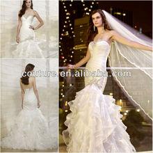 Elegant Beading Sweetheart Neckline Ruffle Bodice Multi-level Mermaid Arabic Bride Wedding Dresses 2013 WTT0113