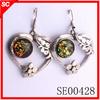 2013 Popular hot earrings heart earrings crystal with amber