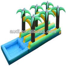 36' Palm Tree Arch Dual Lane Inflatable Slip-n-Slide/Inflatable Water Slide with Splash Pool