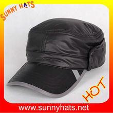 Black cheap military ear flap winter hat