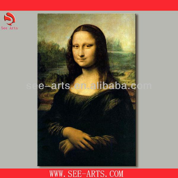 Mona lisa pittura a olio, copia di pittura a olio famosa di leonardo di no ser piero da vinci