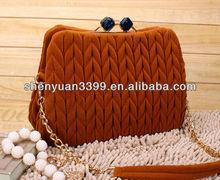 lady wrinkle messenger bags &handbag with gem buckle