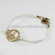 Handmade bracelet,string alloy bracelet with peace marks,white rope bracelet