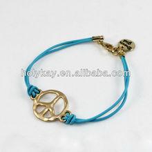 Handmade bracelet,string alloy bracelet with peace marks,blue rope bracelet