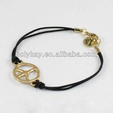 Handmade bracelet,string alloy bracelet with peace marks,black rope bracelet