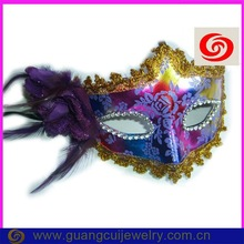 fashion plastic shiny side flower feather mask teen sexy