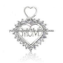 Heart Bail Cubic Zirconia Double Heart Mom 925 Sterling Silver Pendant