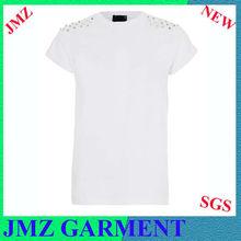 Plain white t-shirts tumble in rivet,joker t-shirts
