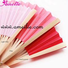Pink Bamboo Handble Wedding Paper Fan