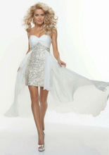 BC108 Amazing Sequins Bodice Beading Off-Shoulder Front Short Long Back Cocktail Dress 2013