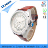 Genuine leather strap luxury stainless steel watch Japan mov't