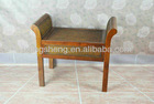 European style wood and rattan KD bedside single chair baby stool