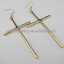 Stylish women accessories large cross earrings