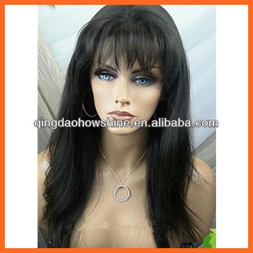 Long Black Hair with Bangs Wig