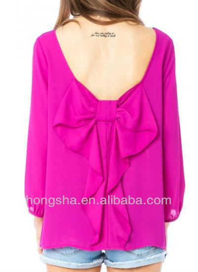 2013 estilo de verano bowknot modelos de blusas en hsm364 chifon ...