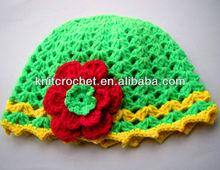 Cute Fashion Soft Milk Cotton Hand Knit Crochet Baby Flower Beanie Hat (1021)