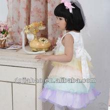 2013 children clothing oem Rainbow color spanish dresses for girls