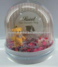 Photo snow globe with resin bear figurine